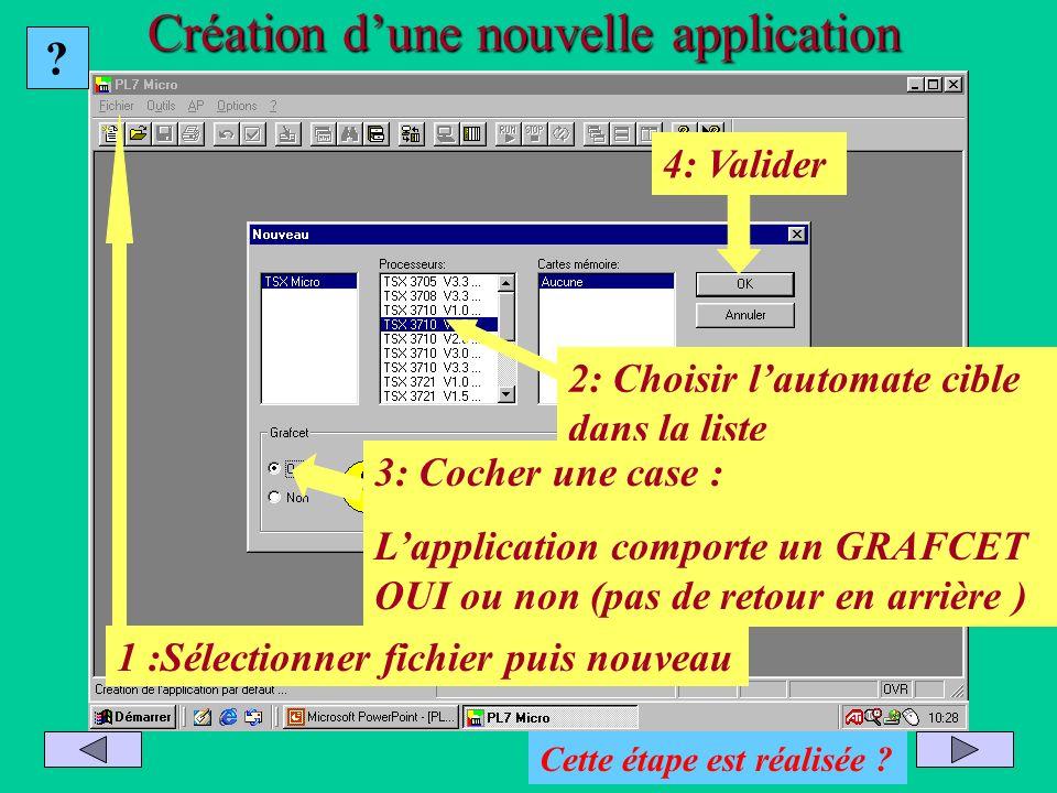 Création d'une nouvelle application