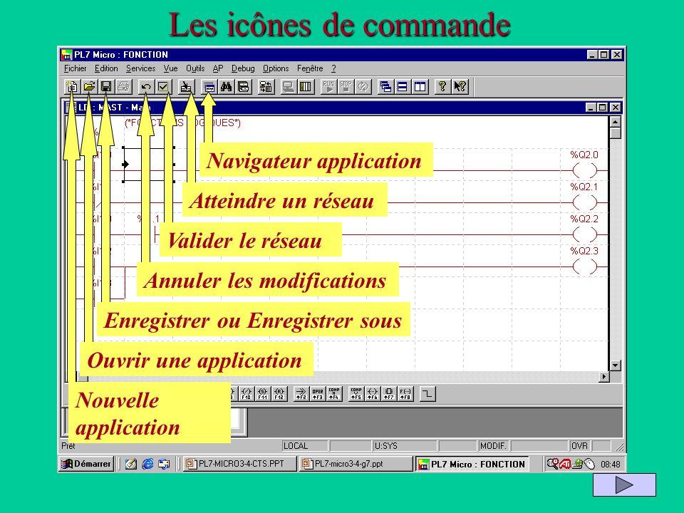 Les icônes de commande Navigateur application Atteindre un réseau