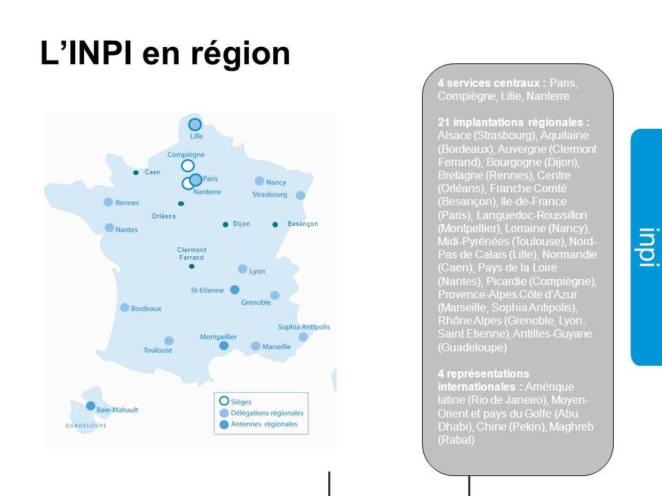 02/12/2008 L'INPI en région. 4 services centraux : Paris, Compiègne, Lille, Nanterre.