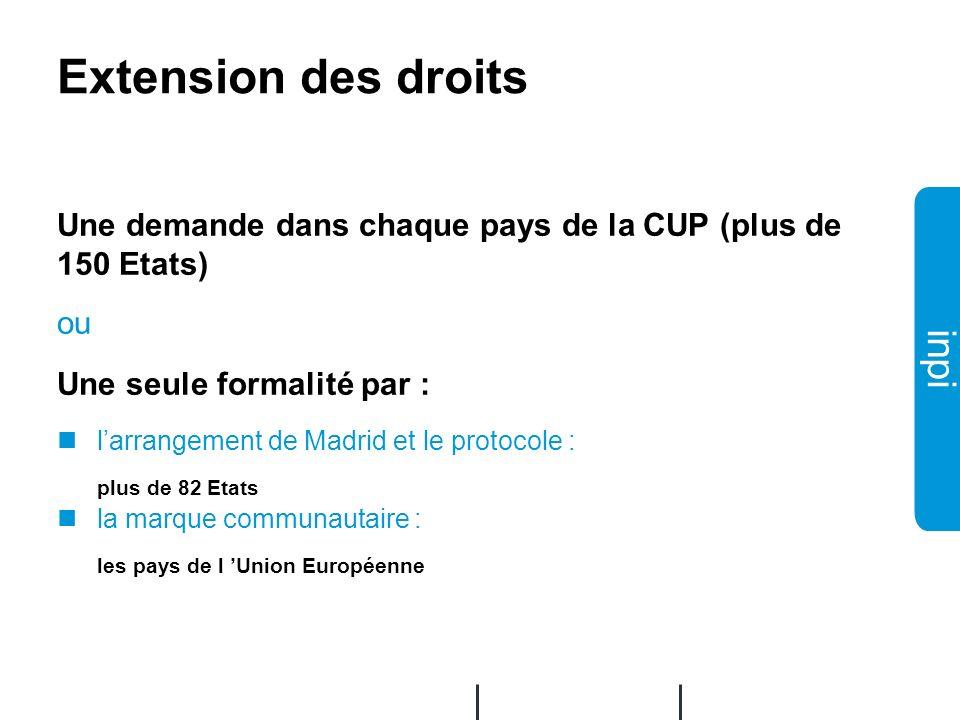 02/12/2008 Extension des droits. Une demande dans chaque pays de la CUP (plus de 150 Etats) ou. Une seule formalité par :