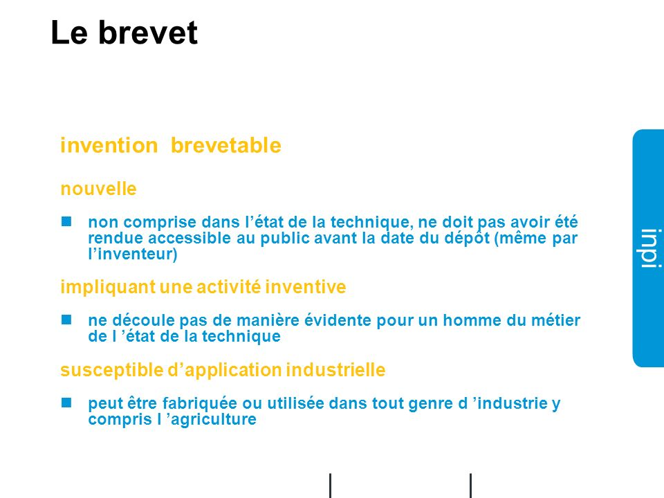 Le brevet invention brevetable nouvelle