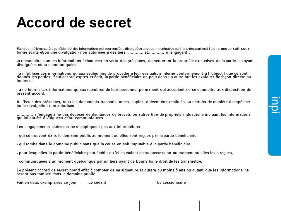 Accord de secret