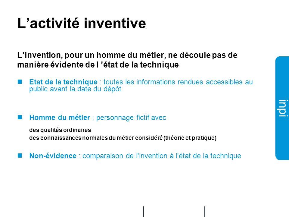 L'activité inventive L'invention, pour un homme du métier, ne découle pas de manière évidente de l 'état de la technique.