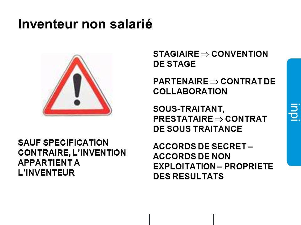Inventeur non salarié STAGIAIRE  CONVENTION DE STAGE