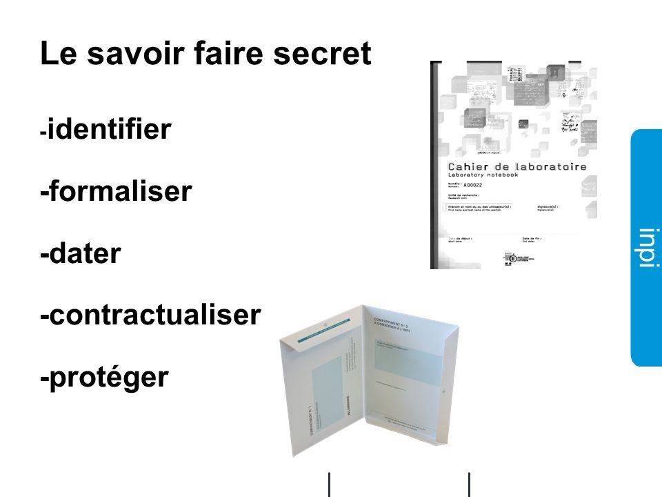 Le savoir faire secret -formaliser -dater -contractualiser -protéger