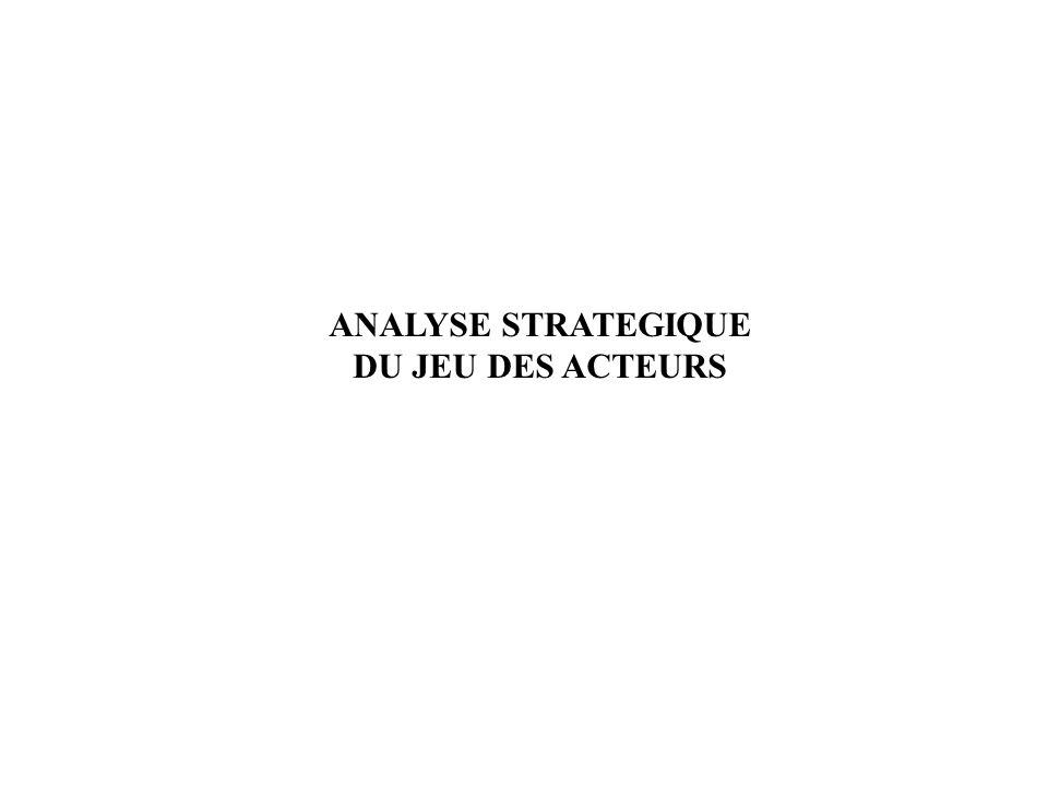 ANALYSE STRATEGIQUE DU JEU DES ACTEURS