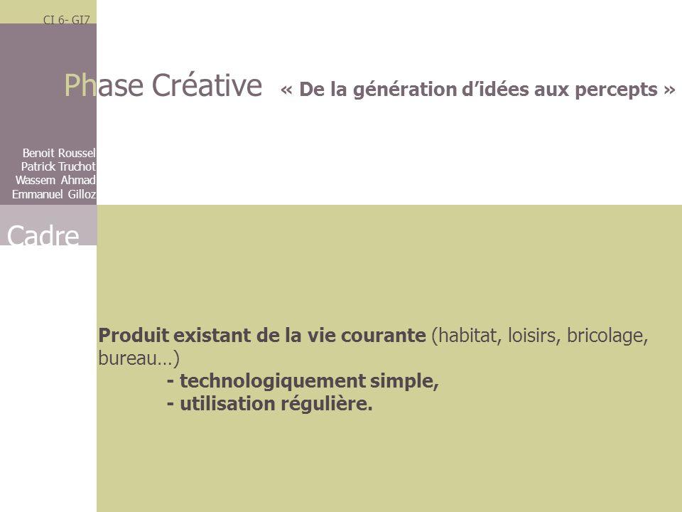 Phase Créative « De la génération d'idées aux percepts »