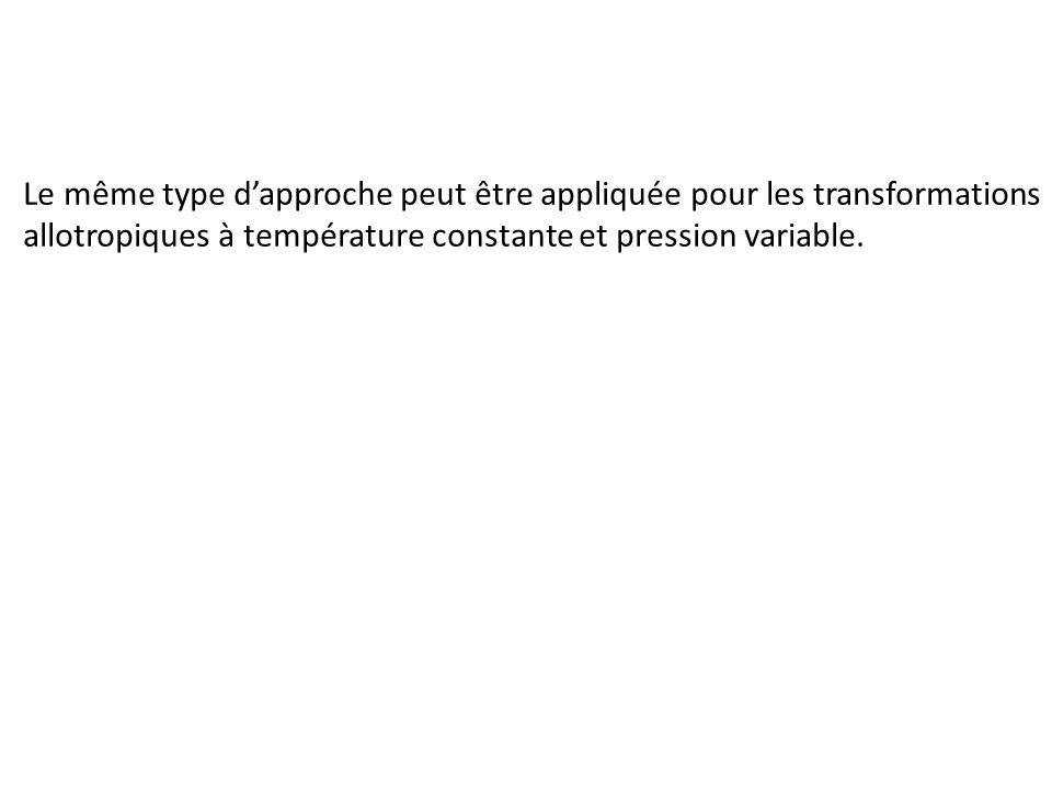 Le même type d'approche peut être appliquée pour les transformations allotropiques à température constante et pression variable.