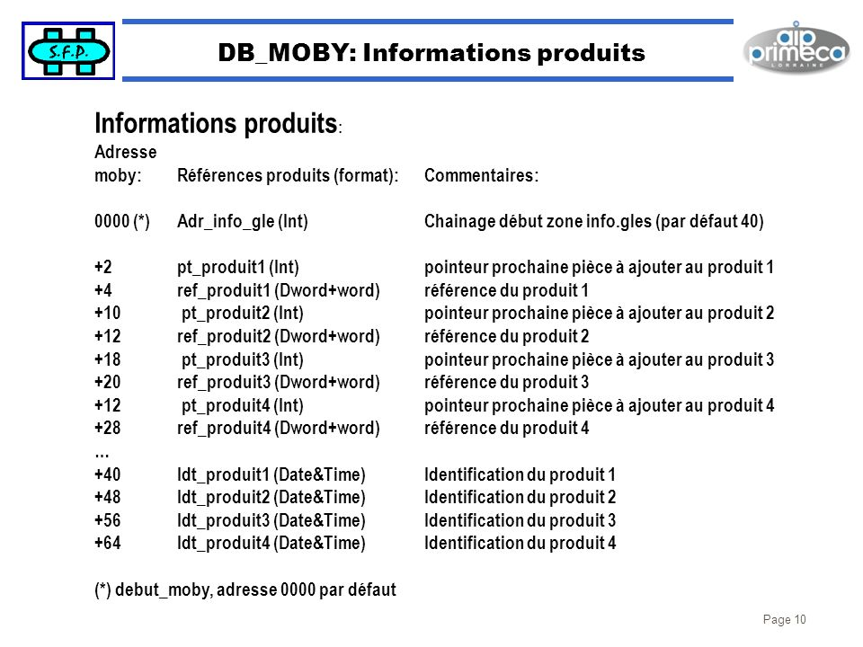 DB_MOBY: Informations produits