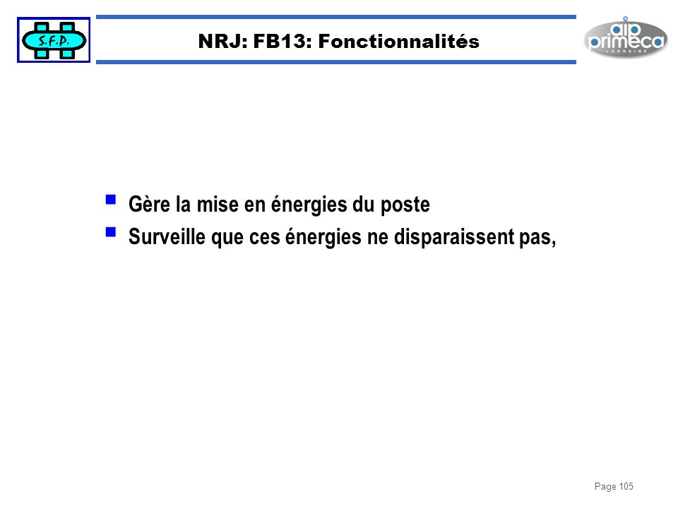 NRJ: FB13: Fonctionnalités