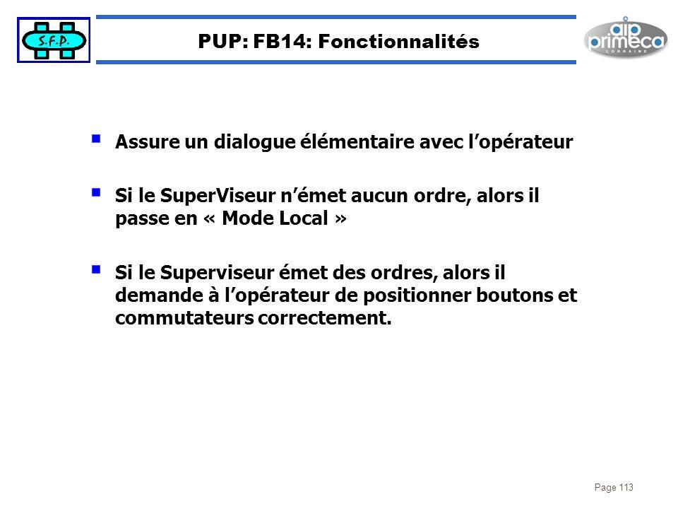 PUP: FB14: Fonctionnalités