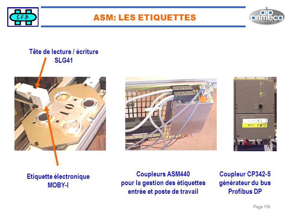 ASM: LES ETIQUETTES Tête de lecture / écriture SLG41 Coupleurs ASM440