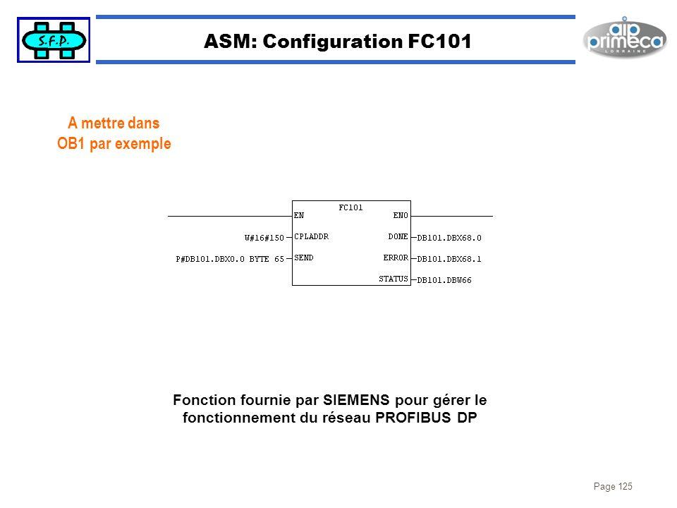 ASM: Configuration FC101 A mettre dans OB1 par exemple