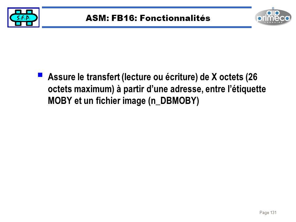 ASM: FB16: Fonctionnalités