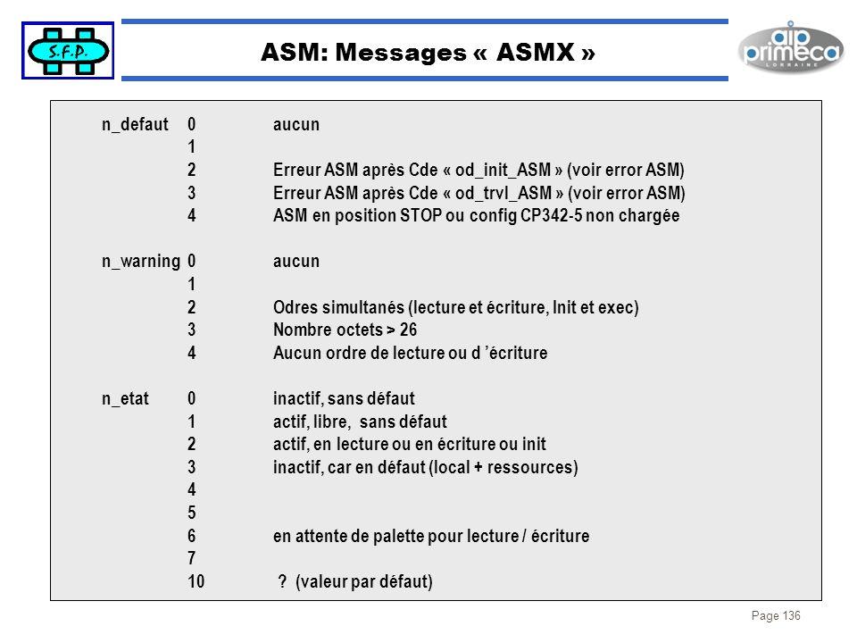 ASM: Messages « ASMX » n_defaut 0 aucun 1