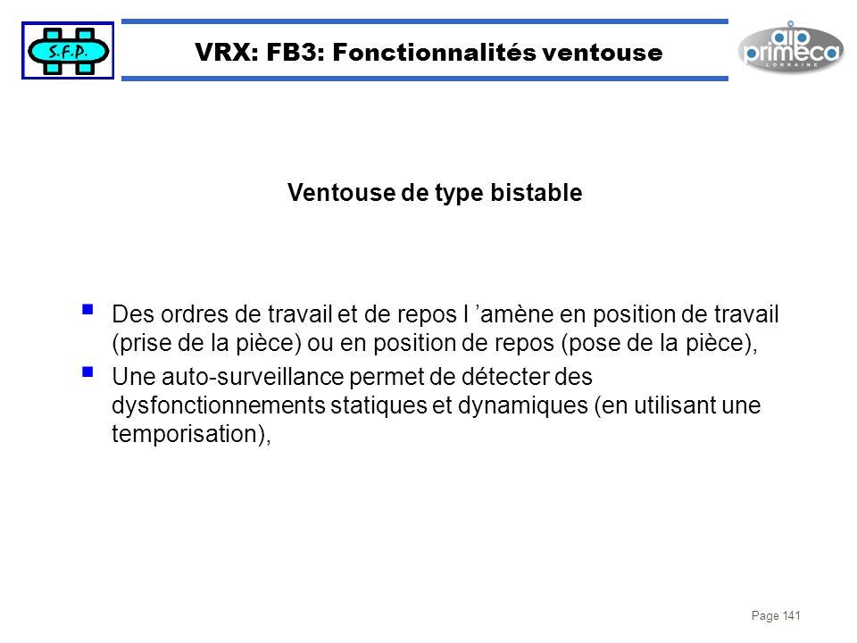 VRX: FB3: Fonctionnalités ventouse