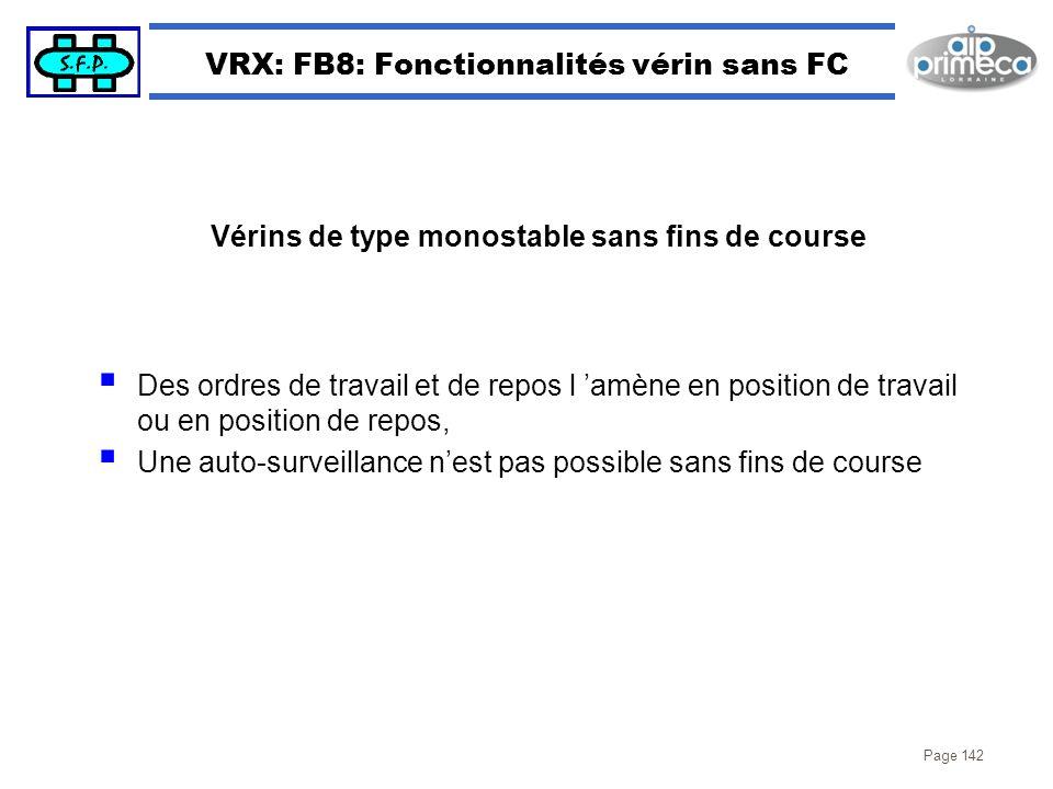 VRX: FB8: Fonctionnalités vérin sans FC