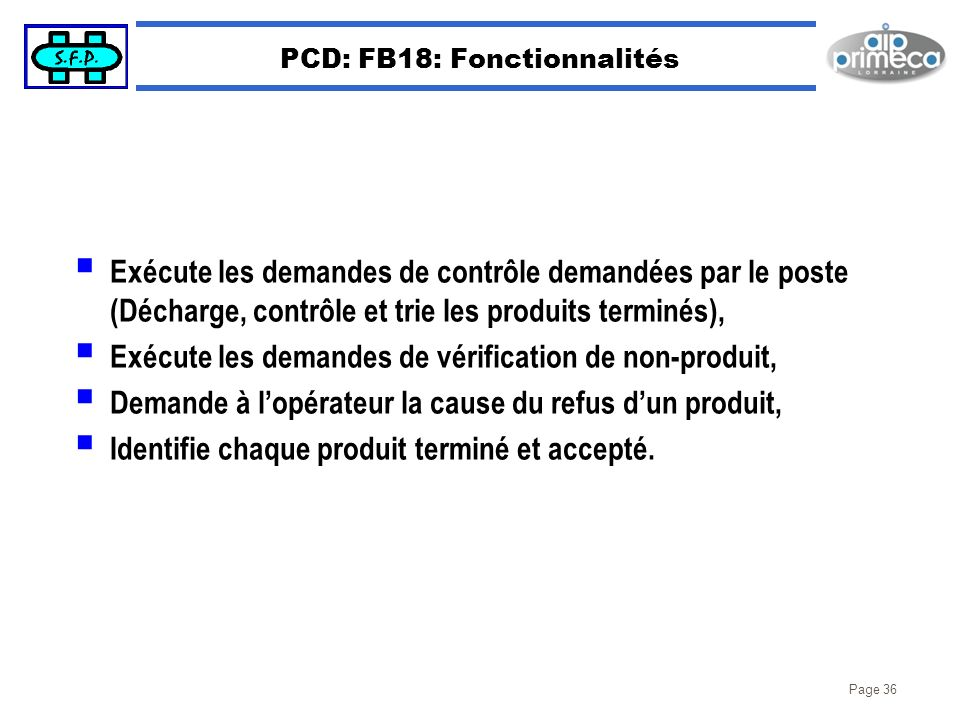 PCD: FB18: Fonctionnalités
