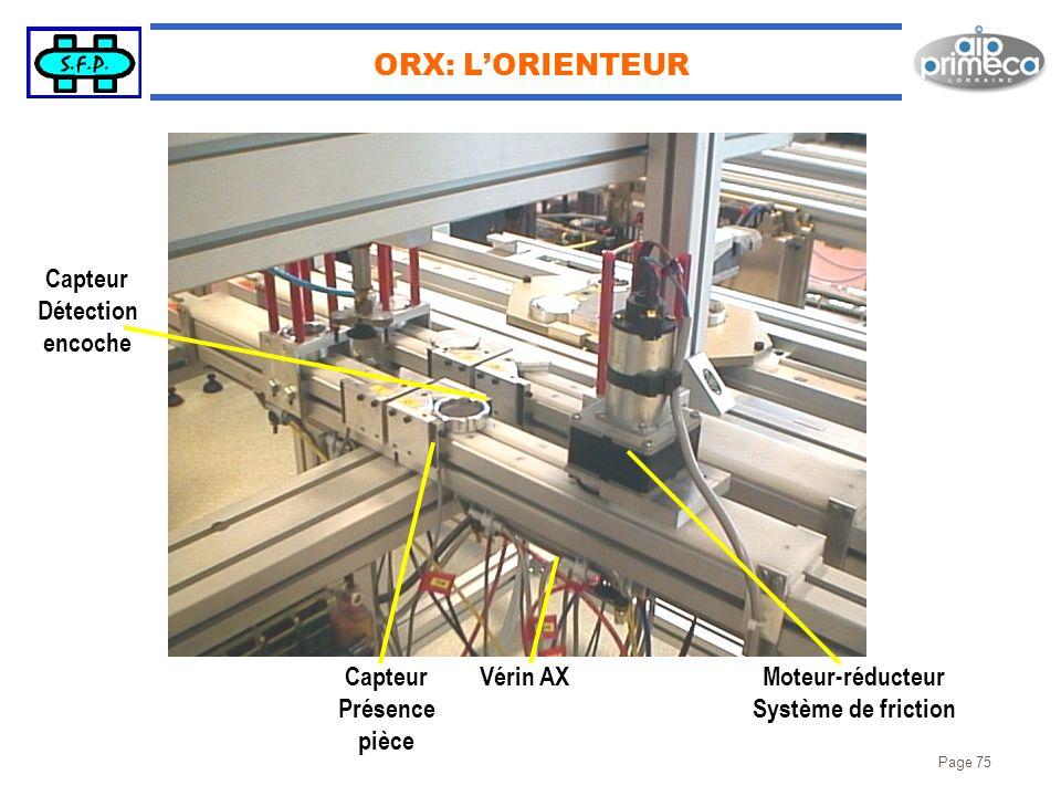 ORX: L'ORIENTEUR Capteur Détection encoche Capteur Présence pièce