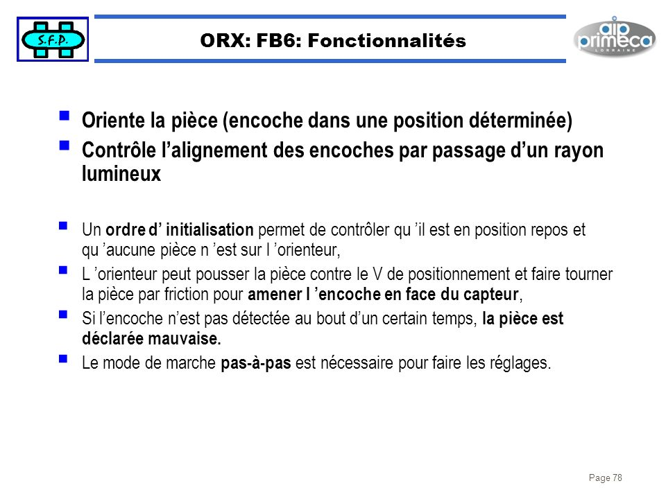 ORX: FB6: Fonctionnalités