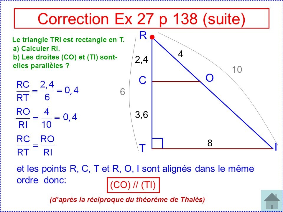 Correction Ex 27 p 138 (suite)