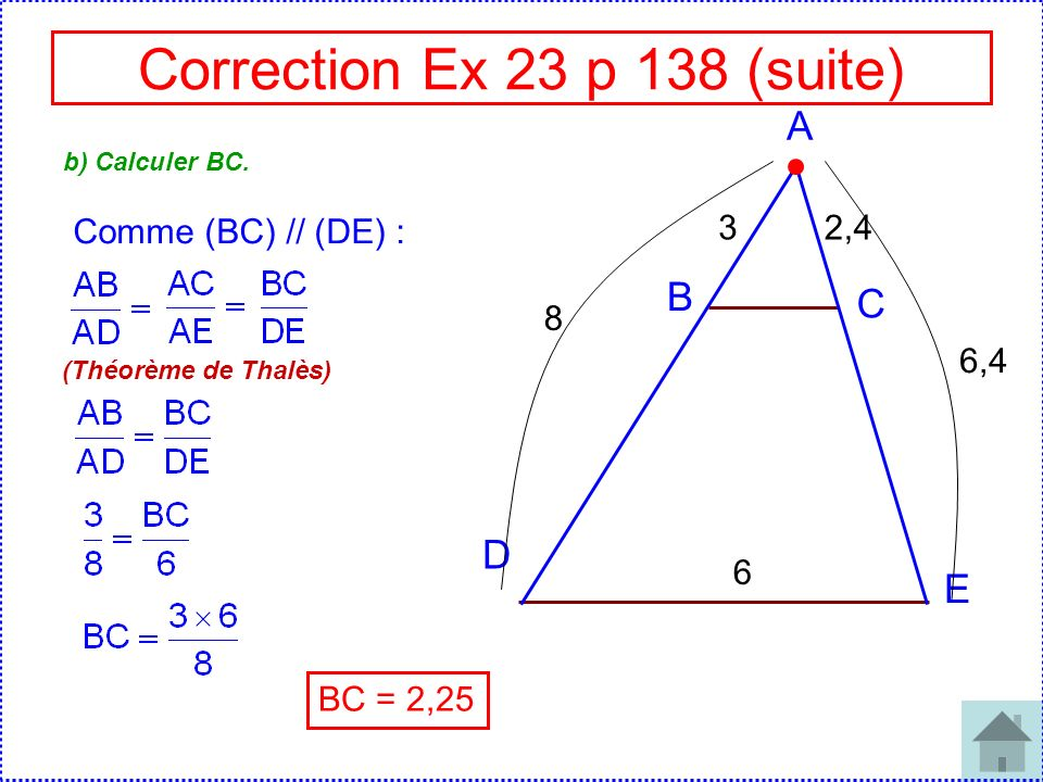 Correction Ex 23 p 138 (suite)
