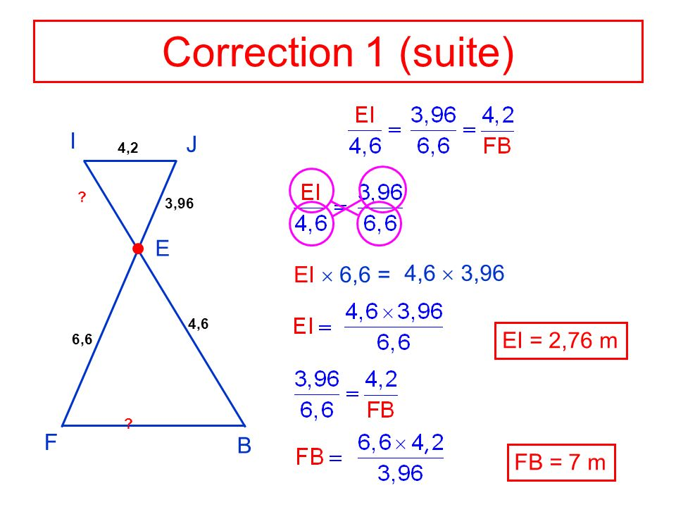 Correction 1 (suite) I J E EI  6,6 = 4,6  3,96 EI = 2,76 m F B
