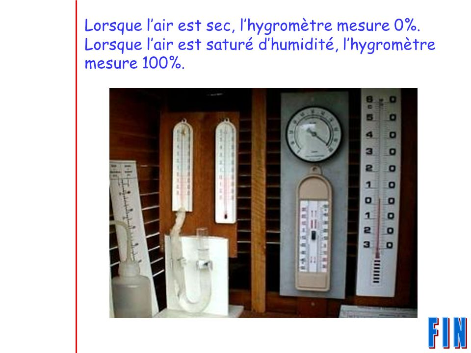 Lorsque l'air est sec, l'hygromètre mesure 0%