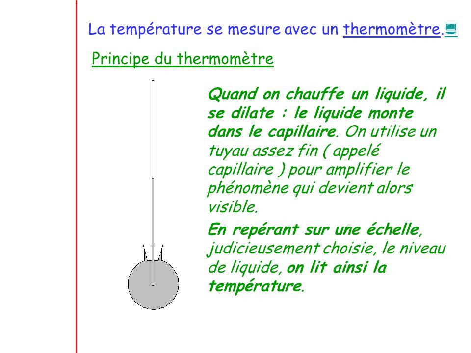 La température se mesure avec un thermomètre.