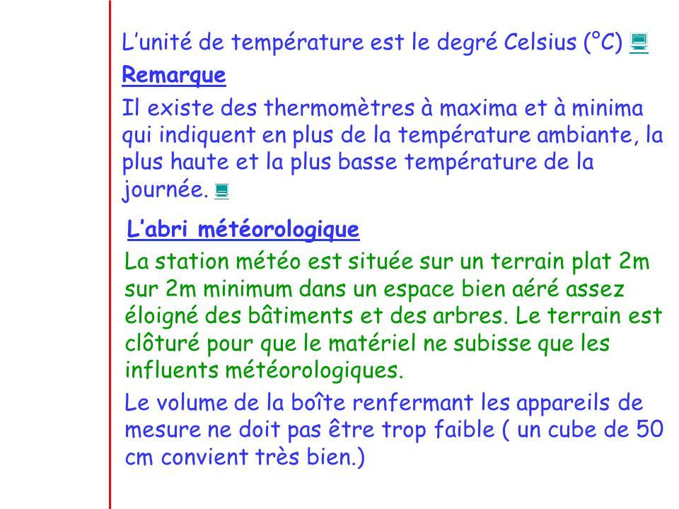 L'unité de température est le degré Celsius (°C) 