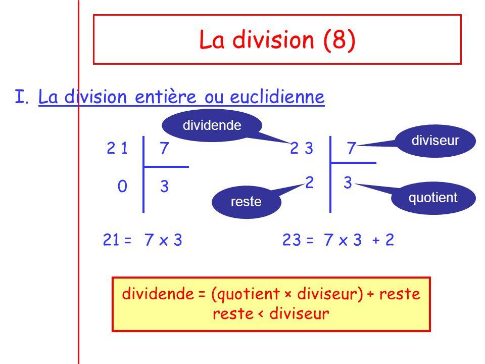 dividende = (quotient × diviseur) + reste