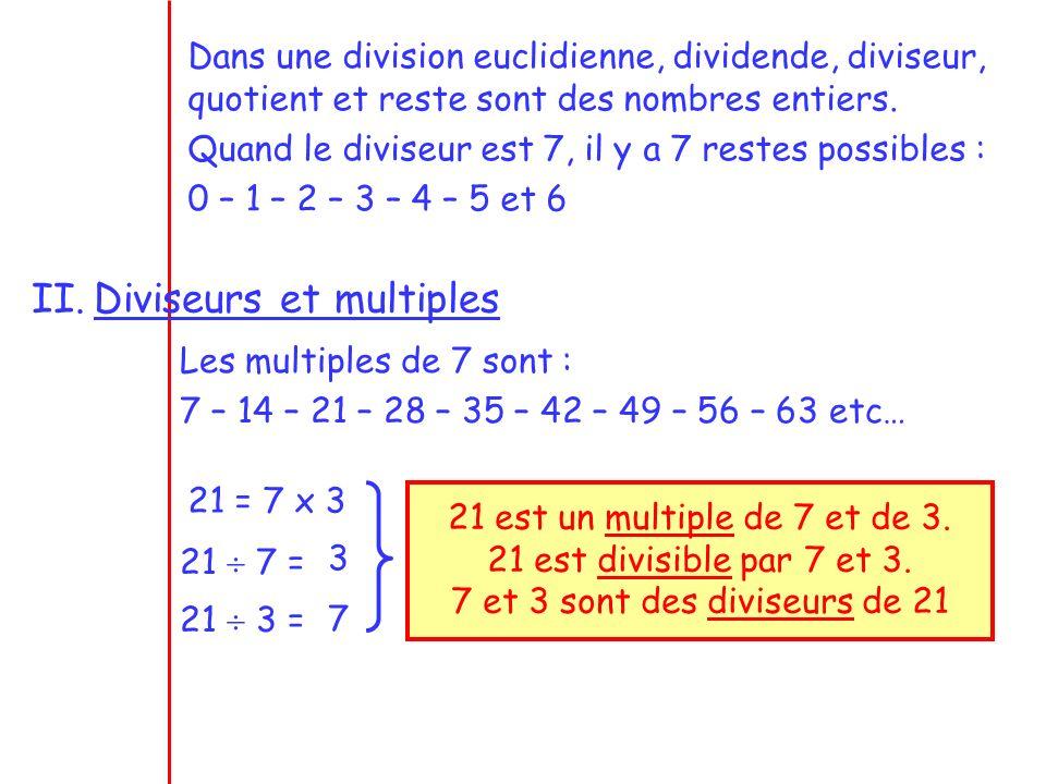 7 et 3 sont des diviseurs de 21