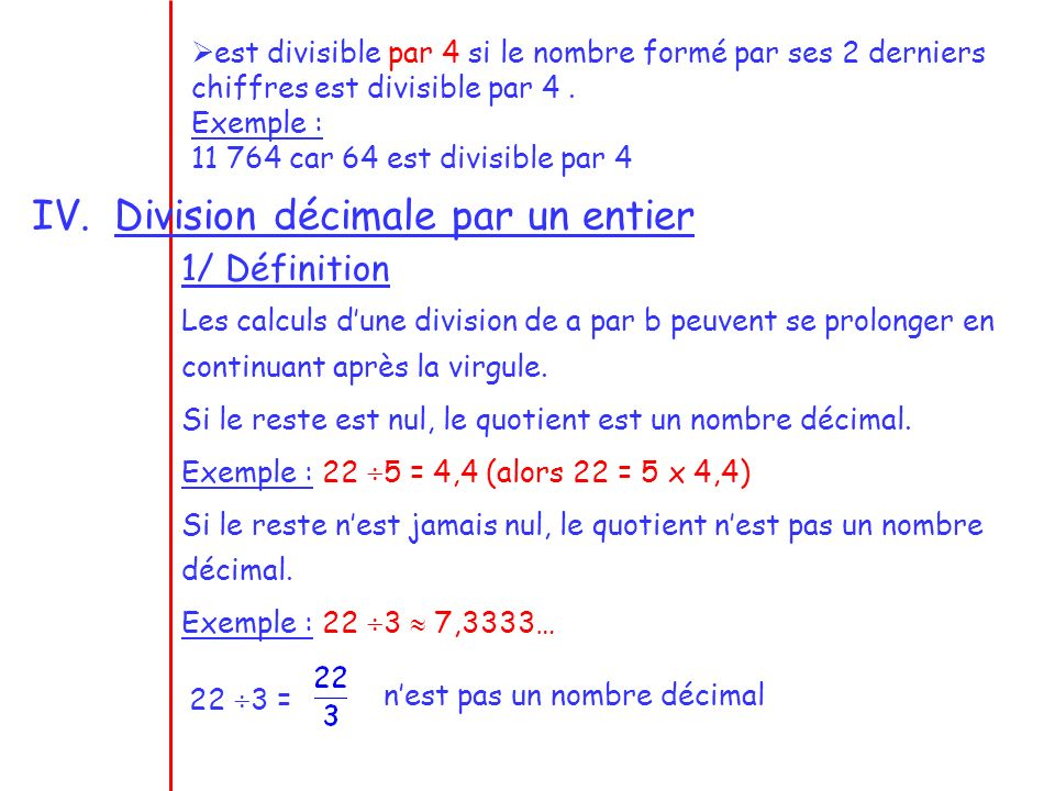 Division décimale par un entier