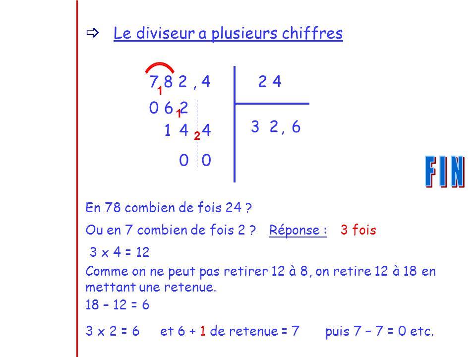 F I N Le diviseur a plusieurs chiffres 7 8 2 , 4 2 4 6 2 3 2 , 6 1 4 4