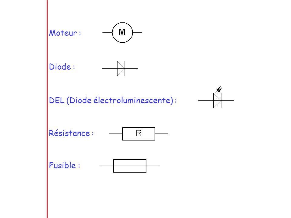 Moteur : Diode : DEL (Diode électroluminescente) : Résistance : Fusible :