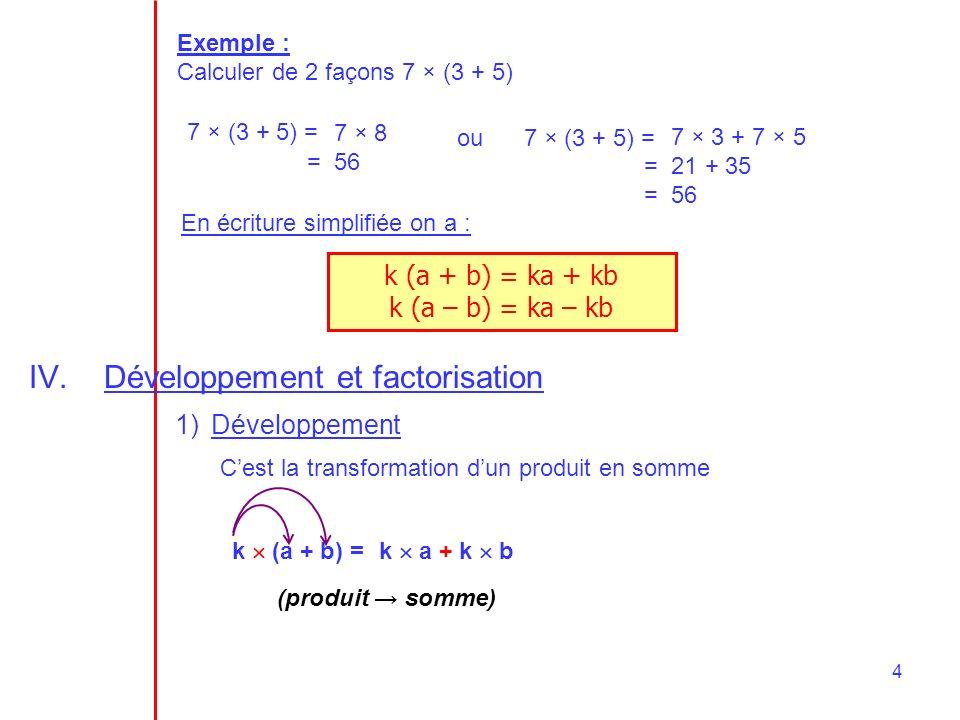Développement et factorisation