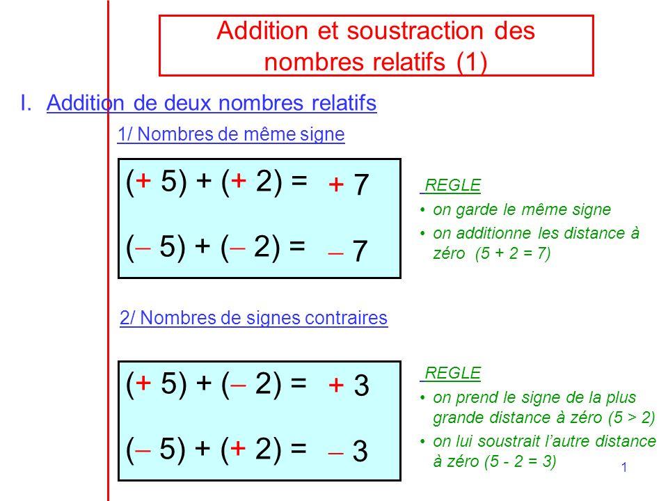 Addition et soustraction des nombres relatifs (1)