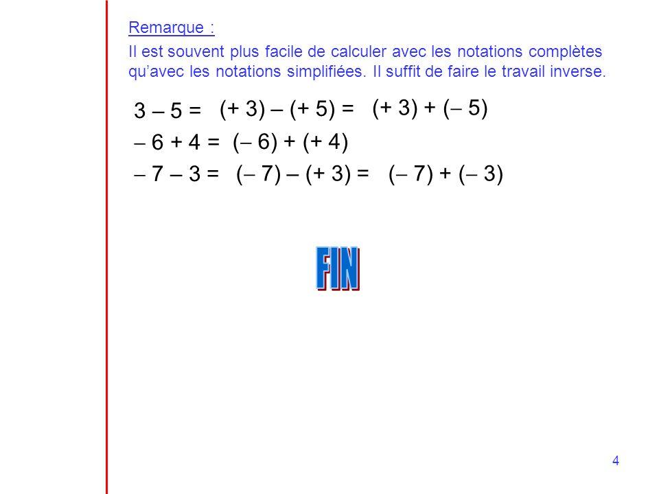 FIN 3 – 5 =  6 + 4 =  7 – 3 = (+ 3) – (+ 5) = (+ 3) + ( 5)
