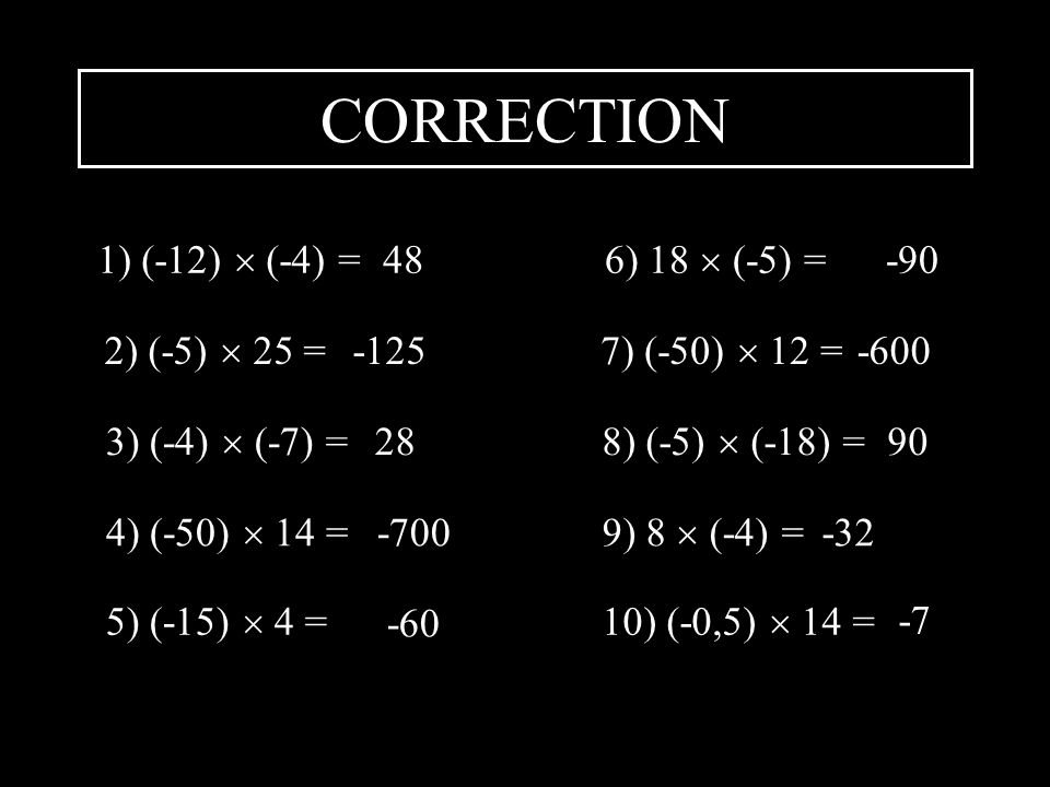 CORRECTION 1) (-12)  (-4) = 48 6) 18  (-5) = -90 2) (-5)  25 = -125