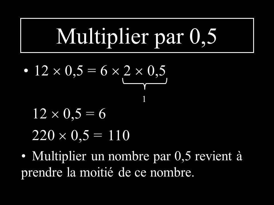 Multiplier par 0,5 12  0,5 = 6  2  0,5 12  0,5 = 6 220  0,5 = 110