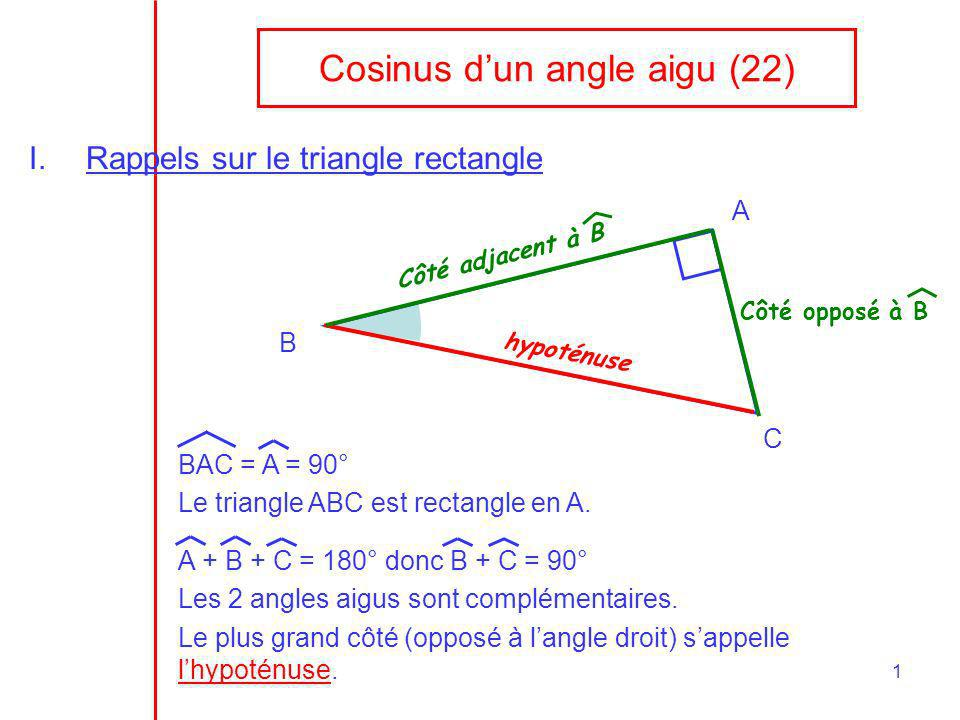 Cosinus d'un angle aigu (22)