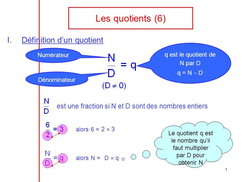 Les quotients (6) Définition d'un quotient