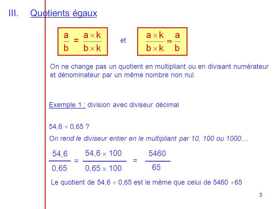 Quotients égaux 54,6 54,6  100 5460 = = 0,65 0,65  100 65 et