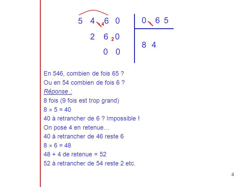 5 4. , 6. , 6. 5. 4. 2. 6. 2. 8. 4. En 546, combien de fois 65 Ou en 54 combien de fois 6