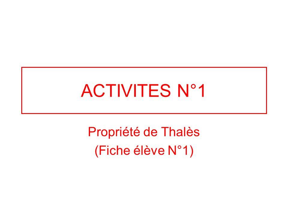 Propriété de Thalès (Fiche élève N°1)