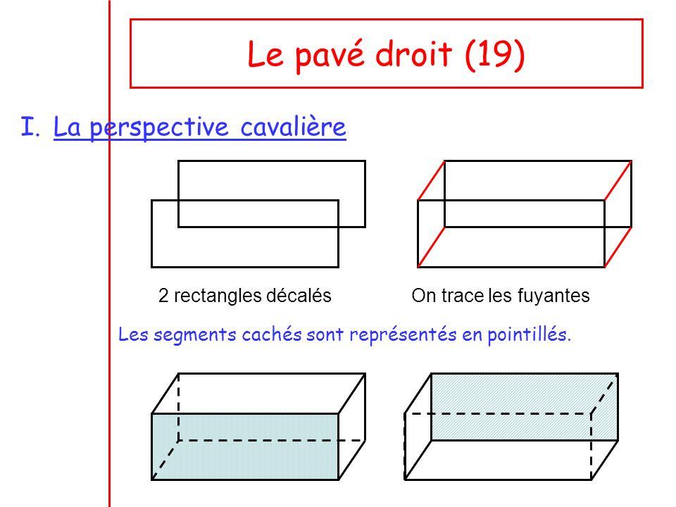 Le pavé droit (19) La perspective cavalière 2 rectangles décalés