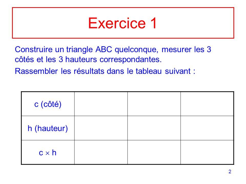 Exercice 1 Construire un triangle ABC quelconque, mesurer les 3 côtés et les 3 hauteurs correspondantes.