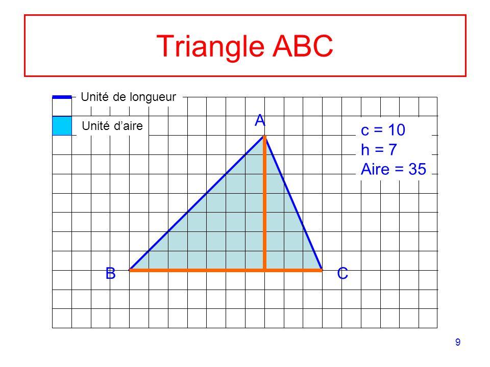Triangle ABC A c = 10 h = 7 Aire = 35 B C Unité de longueur