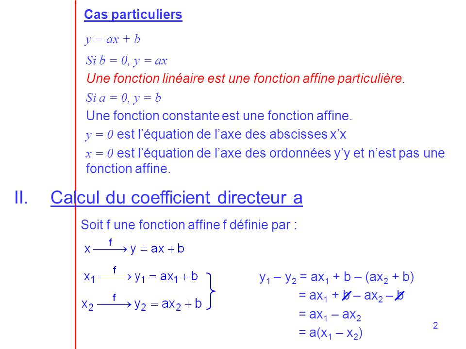 Calcul du coefficient directeur a