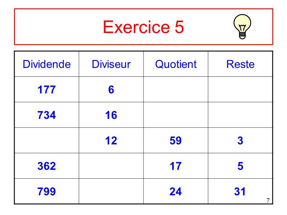 Exercice 5 Dividende Diviseur Quotient Reste 177 6 734 16 12 59 3 362